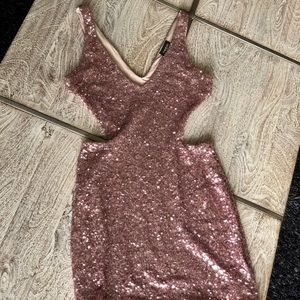 BEBE Pink Sequin Cocktail Dress